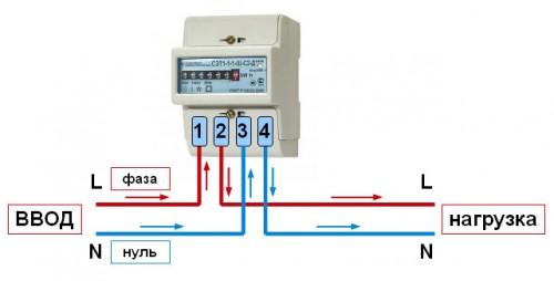 Схема подключения однофазного электрического счетчика