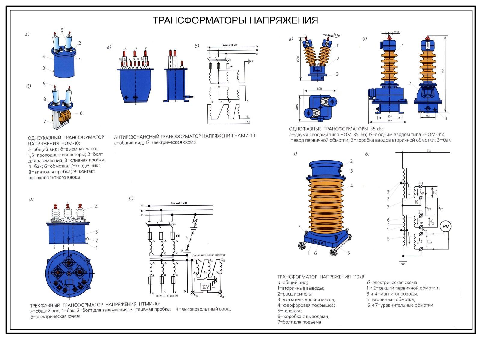 Схема подключения трансформатора напряжения нами-110